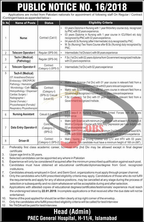 Jobs In Pakistan Atomic Energy Commission PAEC 06 Jan 2019