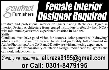 jobs in Gourmet Furnishers in Lahore -Interior Designer jobs