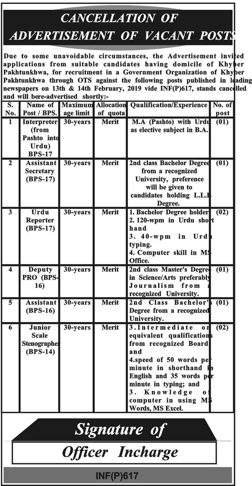 jobs in Khyber Pakhtunkhwa Government in Multiple Cities