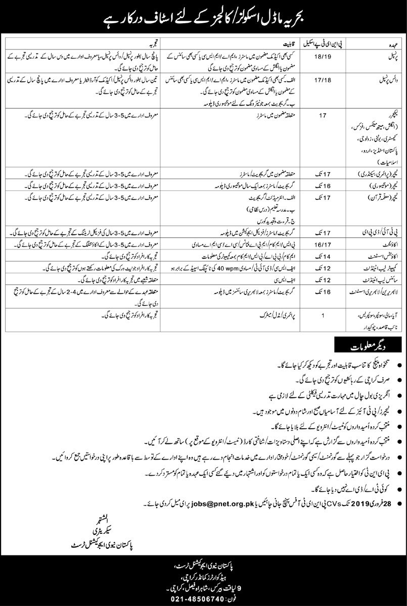 Jobs in Pakistan Navy Educational Trust Karachi | dailyjobes