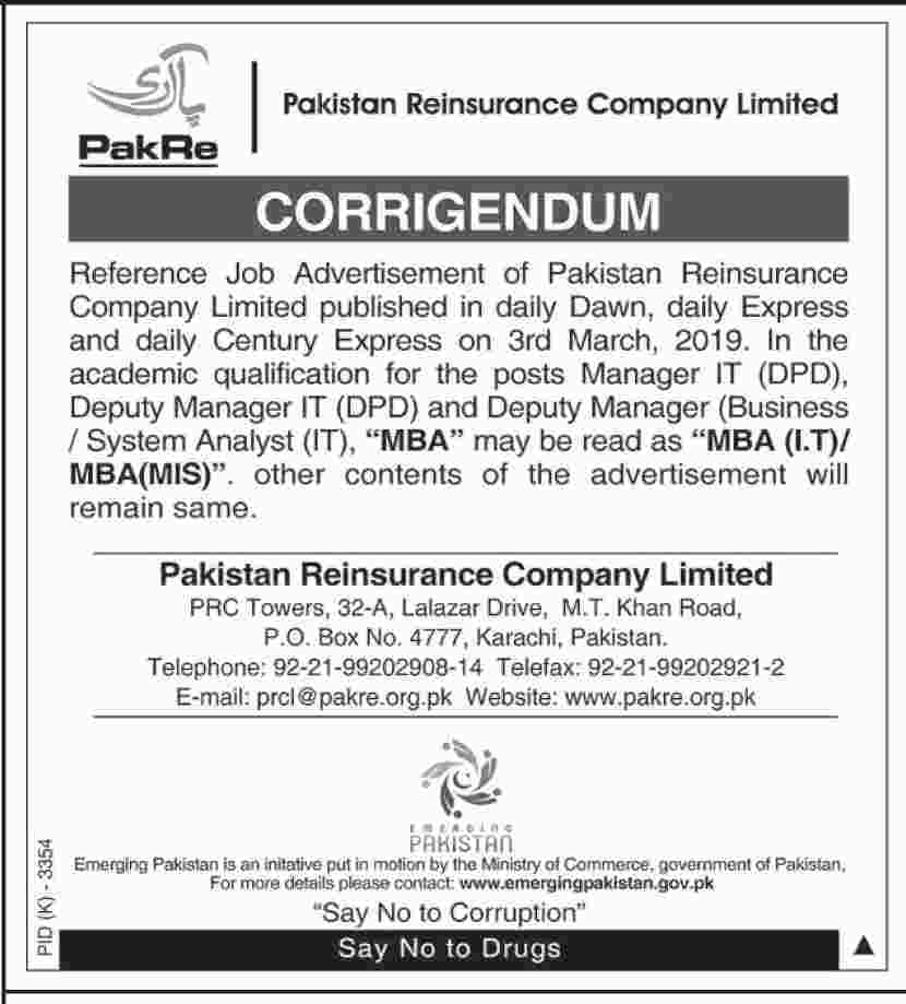 jobs in Pakistan Reinsurance Company Limited in Karachi -Manager