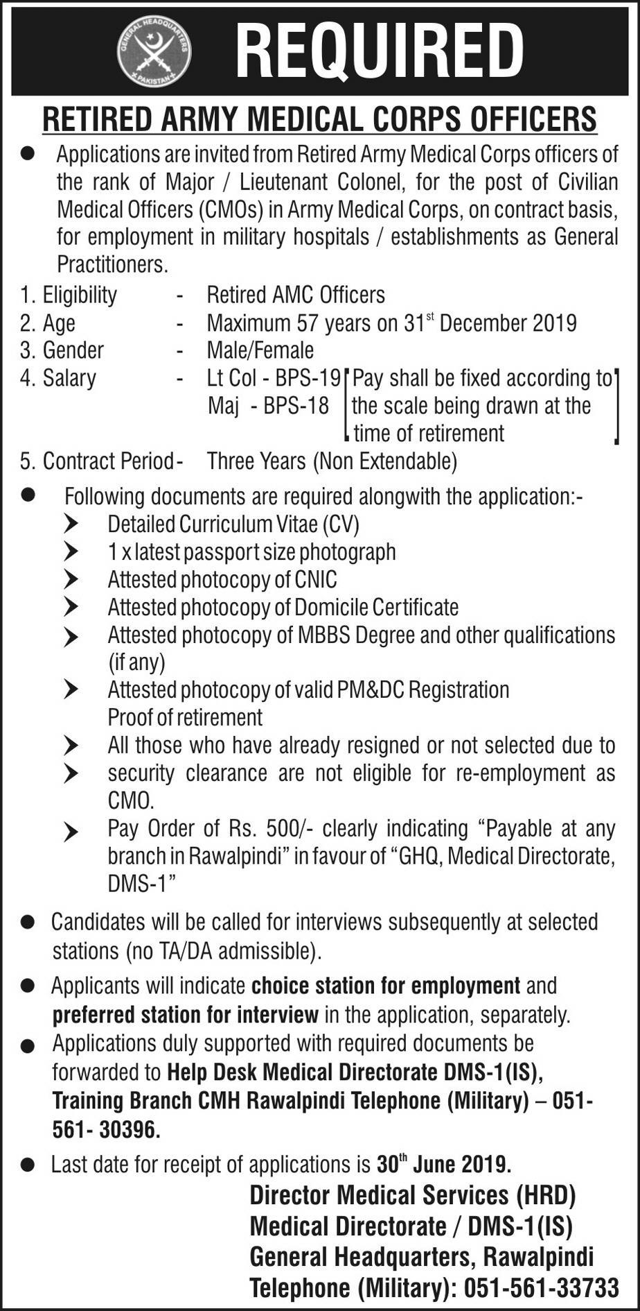 Army Medical Officers Required In CMH Rawalpindi 26 May 2019 -Jobs