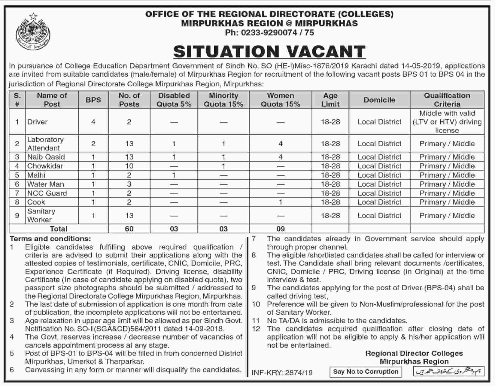 Jobs In Office Of The Regional Directorate Colleges Mirpur Khas 30