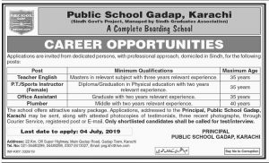 Public School Gadap Karachi 25 Jun 2019 -Jobs In Karachi
