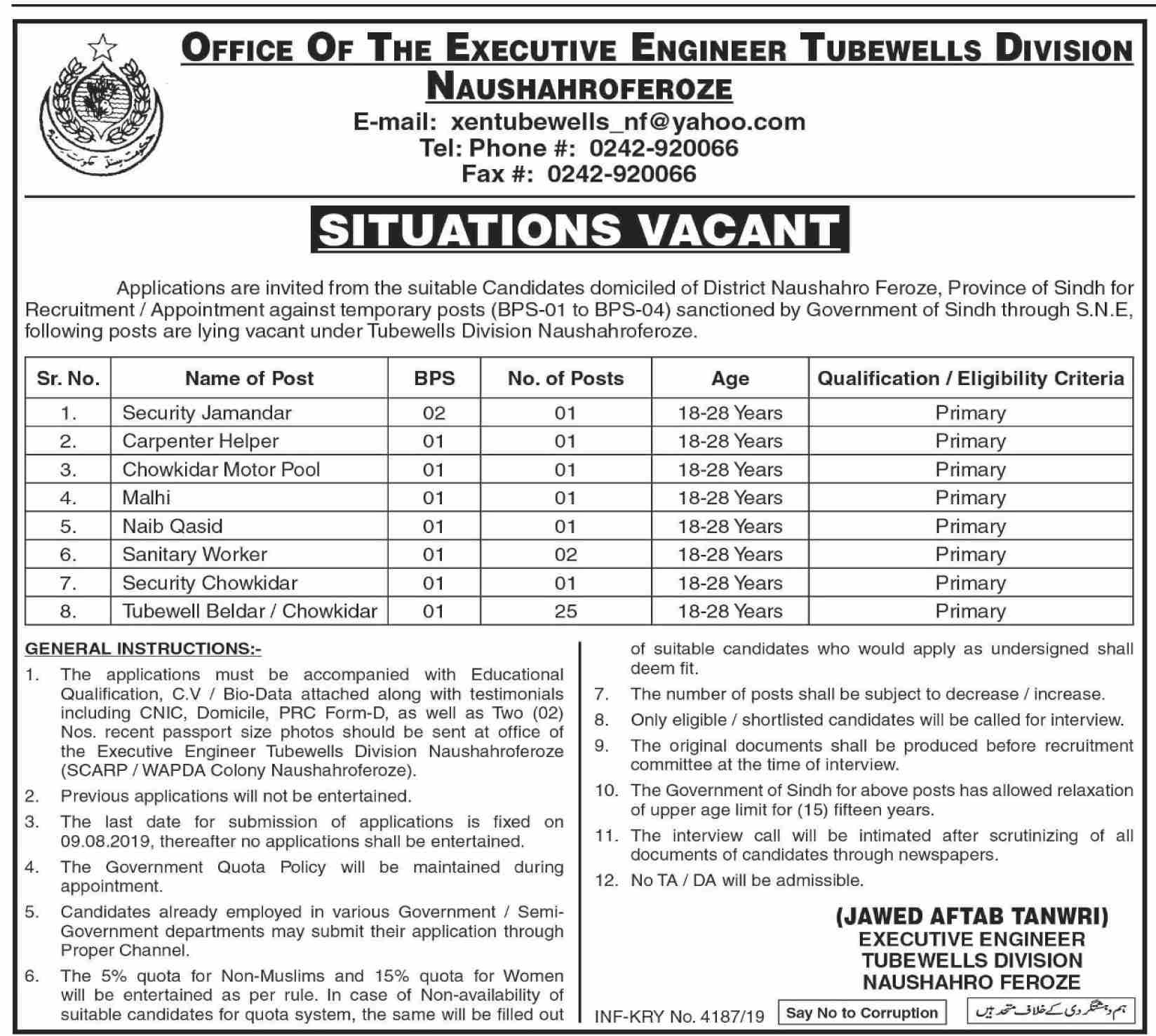 Office Of The Executive Engineer Tubewells Division 29 Jul