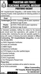 Pakistan Air Force Teaching Hospital 14 Jul 2019 -Jobs In