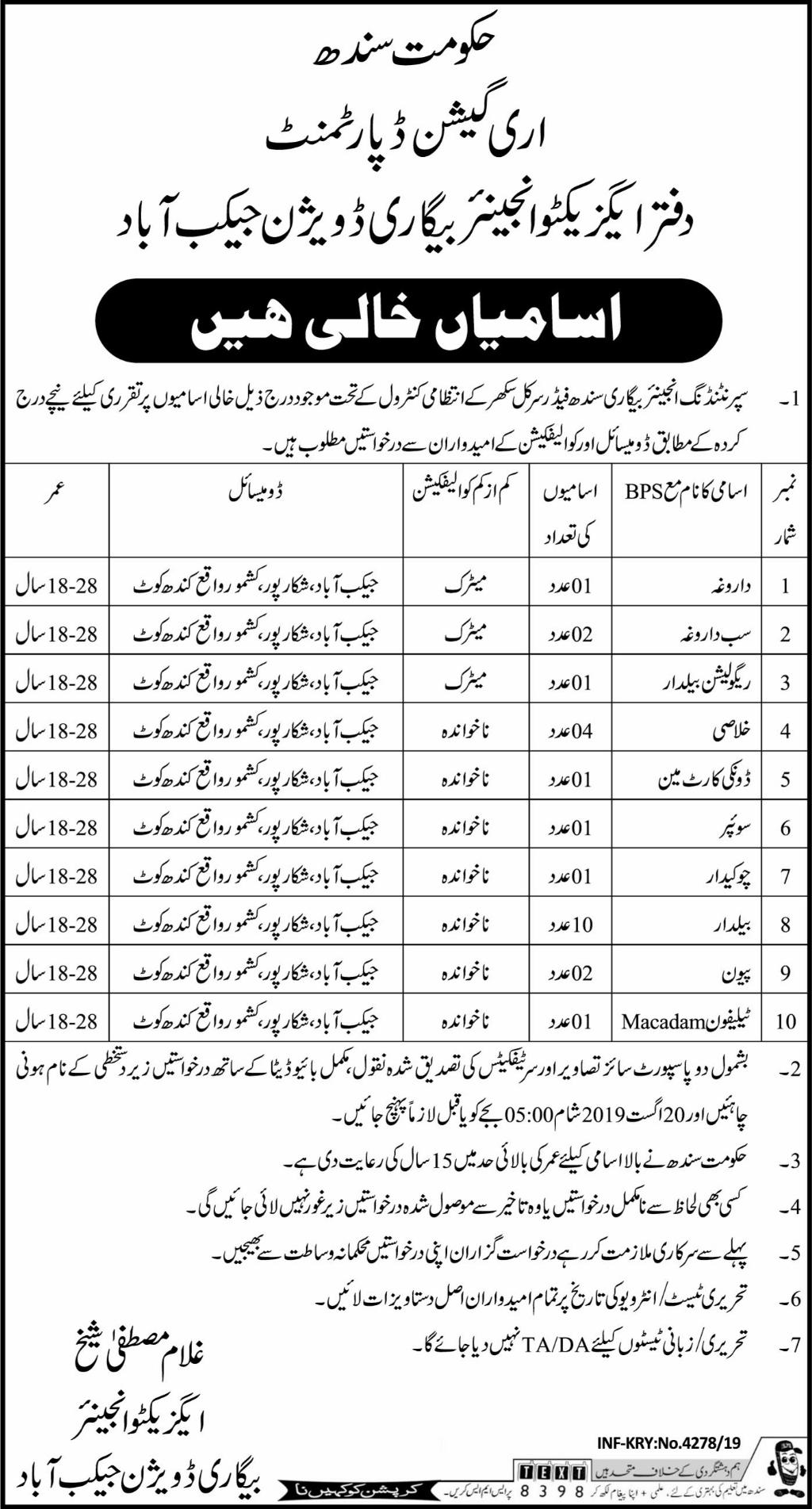 Irrigation Department Jaccobabad 04 Aug 2019 -Jobs In