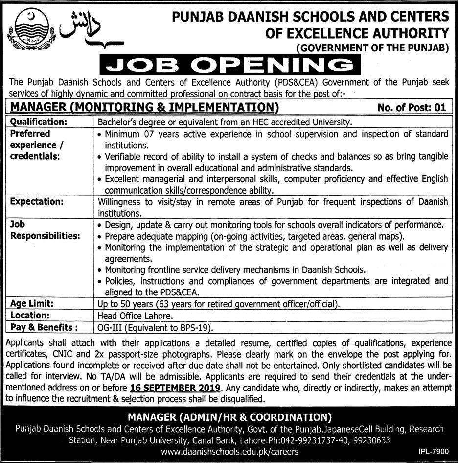 Daanish Schools Govt Of Punjab 01 Sep 2019 -Jobs In Lahore